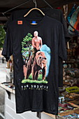 T-shirt with Putin motif for sale at souvenir stand at market, Yaroslavl, Russia