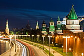 Moskva river and illuminated Moscow Kremlin buildings at night, Moscow, Russia