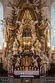 Altar inside Basilica minor of the Holy Trinity church, Gößweinstein, Franconia, Bavaria, Germany
