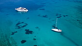 Aerial of cruise ship MS Romantic Star (Reisebüro Mittelthurgau) and sailboat in turqoise waters, near Kor?ula, Dubrovnik-Neretva, Croatia