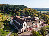 Aerial of Kloster Bronnbach abbey along Romantische Straße romantic road through Unteres Taubertal, Bronnbach, near Wertheim, Spessart-Mainland, Franconia, Baden-Württemberg, Germany