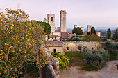 townscape with towers, view from the tower of Rocca castle, San Gimignano, hilltown, autumn, UNESCO World Heritage Site, province of Siena, Tuscany, Italy, Europe