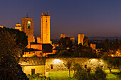 townscape with towers, view from the tower of Rocca castle, San Gimignano, hilltown, UNESCO World Heritage Site, province of Siena, Tuscany, Italy, Europe