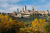 townscape with towers, San Gimignano, hilltown, UNESCO World Heritage Site, province of Siena, autumn, Tuscany, Italy, Europe