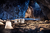UNESCO World Heritage Ice Age Caves of the Swabian Alb, stalagmite kind of icicle at Sirgenstein Cave, Aach Valley, Baden-Wuerttemberg, Germany