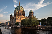 view across Spree River towards Berlin Cathedral, Berlin, Germany