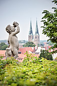 UNESCO World Heritage framework town Quedlinburg, statue at royal garden, historic town center, Saxony-Anhalt, Germany