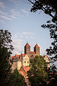 UNESCO World Heritage framework town Quedlinburg, castle and collegiate church at castle hill, historic town center, Saxony-Anhalt, Germany