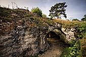 UNESCO World Heritage Ice Age Caves of the Swabian Alb, Vogelherd Cave at archeological park, Lone Valley, Baden-Wuerttemberg, Germany