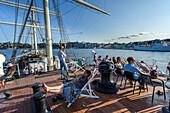 Youth hostel with restaurant and bar on the sailing ship Vandrarhem af Chapman and Skeppsholmen, Stockholm, Sweden