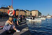 View of Old Town Gamla Stan near Slussen Plan, Stockholm, Sweden