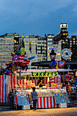 View of Soedermalm, candy stand in the foreground, Stockholm, Sweden