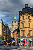 Gamla Stan, alleyways overlooking Storkyrkan church tower, Stockholm, Sweden