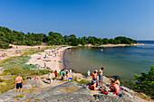 Beach on the popular tourist island Sandhamn, Stockholm, Sweden