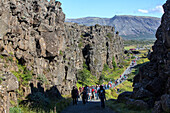 gorges of the almannagja, thingvellir national park, the site of the former parliament where iceland's independence was proclaimed, listed as a world heritage site by unesco, fault zone and active volcanism, golden circle, southwest iceland, europe