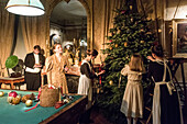 paul de noailles (the chateau's heir) and his family preparing the viennese christmas tree, chateau de maintenon fabulous christmas spectacle, with the participation of 800 volunteers, eure-et-loir (28), france