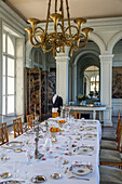 the dining room, meal after the hunt, chateau de bizy, vernon (27), france