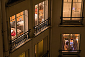 apartments in an apartment building in the 7th arrondissement at night, paris (75), france