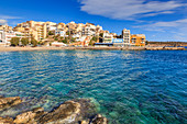 Clear azure waters of Kitroplateia Beach, Agios Nikolaos, Lasithi, Crete, Greek Islands, Greece, Europe