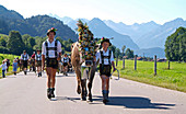 Viehscheid, the Annual Driving down of the Cattle from the summer mountain pastures into the valley, Schoellang, Allgau, Bavaria, Germany, Europe