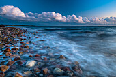 stones, beach, storm, clouds, Baltic Sea, Hohenfelde, Schleswig Holstein, Germany