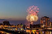 fireworks, sailingship, sailingships, Hörn, Kiel Week, Baltic Sea, Kiel, Kiel fjord, Schleswig Holstein, Germany