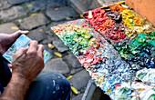 France, Paris, hill of Montmartre, Place du Tertre with its painters