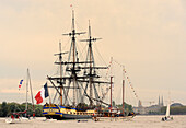 France, South-Western France, Bordeaux, sailboats escorting the Hermione (replica ship of a Concorde class frigate of the French Navy)