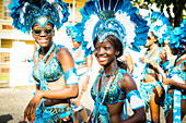 A group of young women dressed up, Carnaval, St Georges, Grenada, West Indies