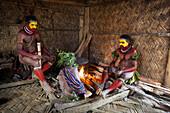 Male Huli make-up and coiffed indoors, Tari, Papua New Guinea