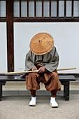 Traditionally dressed man in Dejima in the port of Nagasaki, Kyushu, Japan, Asia