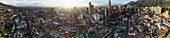Panoramic view of cityscape during sunset, Bogota, Columbia