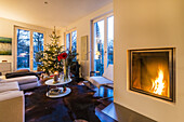 christmas spirit in a modern apartment in Hamburg, north Germany, Germany