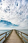 View from pier towards the sea, Jasmund, Sassnitz, Ruegen Island, Mecklenburg-Western Pomerania, Germany