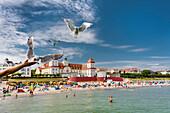 Seagulls and Kurhaus, Binz, Rügen Island, Mecklenburg-Western Pomerania, Germany