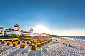 Kurhaus and beach chairs at sunset, Binz, Ruegen Island, Mecklenburg-Western Pomerania, Germany