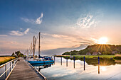 Sunset in the harbour, Baabe, Ruegen Island, Mecklenburg-Western Pomerania, Germany