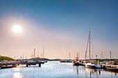 Harbour in the evening, Thiessow, Moenchgut, Ruegen Island, Mecklenburg-Western Pomerania, Germany