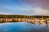 Sunset at the marina, Jasmunder Bodden, Ralswiek, Ruegen Island, Mecklenburg-Western Pomerania, Germany