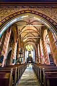 Interior of St. Mary's church, Bergen, Ruegen Island, Mecklenburg-Western Pomerania, Germany