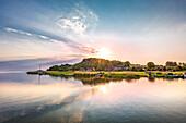 Sundown, Baabe, Lake Sellin, Rügen Island, Mecklenburg-Western Pomerania, Germany