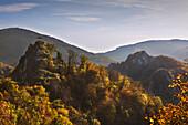 Burg Are, Blick zum Teufelsloch, Altenahr, Ahrsteig, Rotweinwanderweg, Ahr, Rheinland-Pfalz, Deutschland
