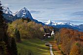View to Wamberg village, Werdenfelser Land, Bavaria, Germany