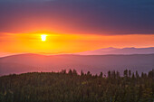 Sunset, view from Dreisessel mountain over the Bavarian Forest, Bavaria, Germany