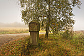 Old wayside cross at the hiking trail to Laacher Kopf, near Maria Laach, Eifel, Rhineland-Palatinate, Germany