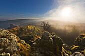 Morning mist, Bruchhauser Steine, near Olsberg, Rothaarsteig hiking trail, Rothaar mountains, Sauerland, North Rhine-Westphalia, Germany