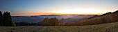 Panoramic view over the woody hills, near Wildewiese, Rothaar mountains, Sauerland, North Rhine-Westphalia, Germany