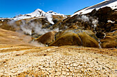 Hot and cold areas in the geothermal region of Kerlingarfjoell, highland of Iceland
