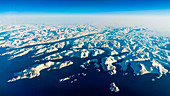 Snow and ice on the islands at the eastcoast of Greenland