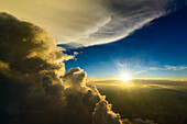 aerial picture during climb alongside of a collapsed cumulonimbus cloud, Ingolstadt, Bavaria, Germany